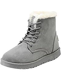 Keephen Lace-Up Martin Stiefel, Damen Wildleder Flache Plattform Sneaker  Schuhe Fell Gefüttert Winter Lace Up… 50bc5ef3e3