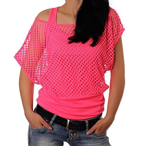 Freyday Damen Netzoberteil Sommertop Fasching Partytop in versch. Farben (Pink) (Outfit Der 80er Jahre)