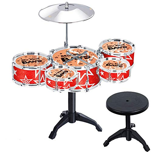 JIALIQIAN Kinder Jazz Drum Set-Drum, Cy, Stuhl, Fußpedal, 2 Drumsticks, Hocker Kit Inspire Kinder Kreativität, Spielzeug für Kinder, Jugendliche, Jungen und Mädchen,Rot