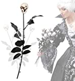 Schwarze Rose Horror Blumenstrauß 50 cm Totenkopf Halloween Deko