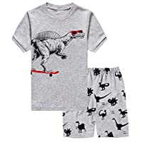 Little Hand Boys Pyjamas Set Dinosaur Print Boys Pjs Short Sleeve Cotton Sleepwear Tops Shirts & Pants for Age 1-7 Years