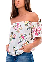 Tiffosi Top Crop Blanco con Estampado L, Blanco