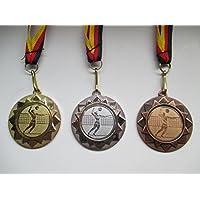 Pokale & Preise silver und bronzefarben mit Band Medaille Metall 50mm incl Emblem gold-