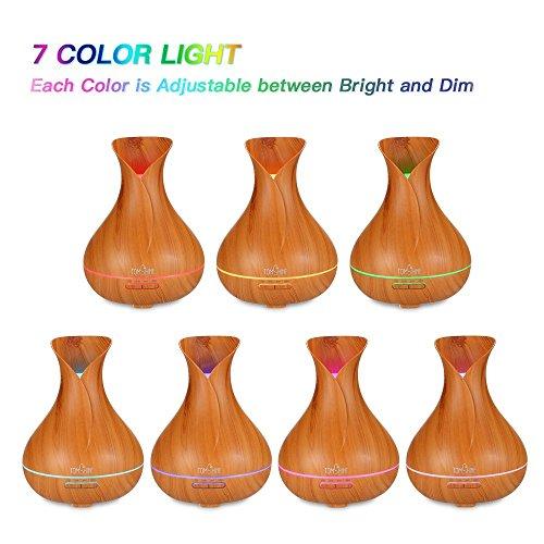 TOMSHINE 400ml Aroma Diffusor Luftbefeuchter Humidifier Holzmaserung mit 7 Lichtfarbe Niedrigwasserschutz für Aromatherapie Wohnzimmer - 4