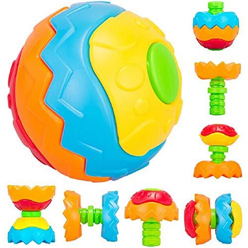 Ball Montiert (1Stk Kinder Bausteine Puzzle Ball Montiert Baustein Spielzeug Variety Puzzle Bunte Kugel TPR Gummi Spielzeug für Baby zufällige Farbe Spielzeug)