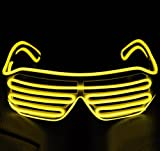 BADASS SHARKS EL Leuchtbrille Party Club Shutter Cool LED Leuchten Brille,for Verrückt Raves,Nacht Bar (Yellow)