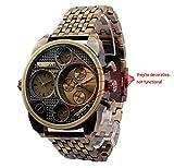 ufengke® antiquitäten zwei zeitzonen edelstahl skala handgelenk armbanduhren für männer,kupfer