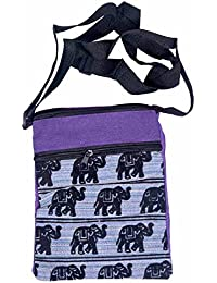 Shopolics Purple And Black Elephant Print Sling Bag