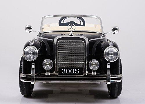 RC Auto kaufen Kinderauto Bild 2: Mercedes Benz 300s Oldtimer Lizenz Kinderfahrzeug mit 2x 35W Motor Kinderauto Elektroauto Fernbedienung MP3 Anschluss in Schwarz*