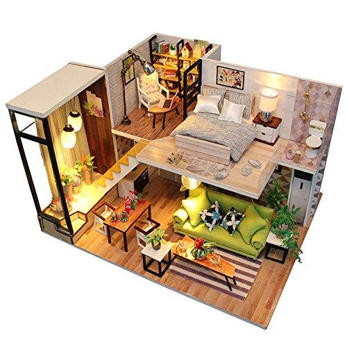 aeronutic 3D Holz Puppenhaus Miniatur Haus DIY House, Dollhouse DIY Kit Holzhaus Spielzeug Holzbausteine Für Kinder, Wohnzimmer Ornamente Für Kindertag, Weihnachten, Hochzeit, Geburtstag