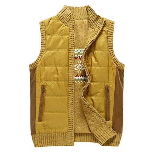 GKKXUE Men's Pullover Weste Britischen Männer Herbst und Winter Pullover Fashion Casual Jugend Beliebten Westen (Farbe : Gelb, größe : L)