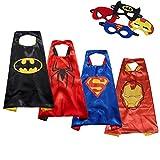 U.I. Juego de ropa de dos caras para disfraz de superhéroe para niños y niñas, para disfraz o disfraz de Batman, Spiderman, Superman y Iron Man (Capes + máscaras)