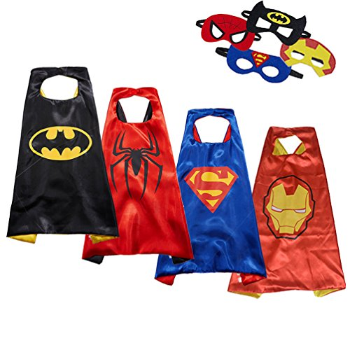 Masken für Kinder Lachesis Kinder verkleiden sich Kostüm Cosplay Mäntel Set doppelseitige Fleck Partei liefert Batman, Spiderman, Superman und Iron Man (Capes + Masken) (Iron Man Kostüm Cosplay)