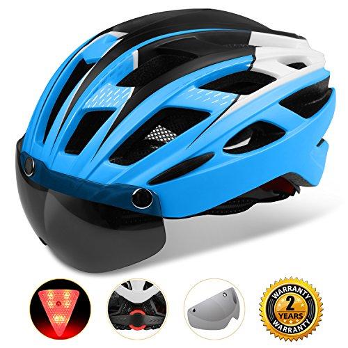 KINGLEAD Casque de vélo Unisexe avec visière de Protection aimantée Amovible et réglable (Bleu Noir Blanc)