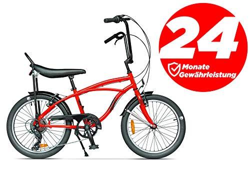 """Ape Rider Damenfahrrad Herrenfahrrad - 20\"""" Comfort Fahrrad 7 Gang Fahrräder - Empfohlene Höhe 140-170 cm (Rot)"""