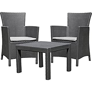 Allibert Rosario 219992 Balcony Lounge Set 2x Chairs and 1x Table Rattan-Effect Plastic Graphite