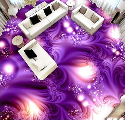 D Bodenfliesen Wandbilder Glänzendes Lila Muster Wohnzimmer Badezimmer Boden Wandbild PVC, 300 * 210 Cm ()