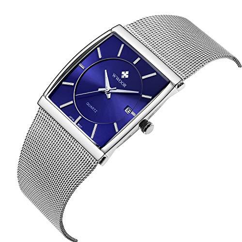 WWOOR Herren Quadratisches Zifferblatt Mesh Band Armbanduh Männlich Elite Square Sport Uhr (Blue)
