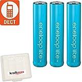 Kraftmax 3er-Pack Panasonic Eneloop LITE AAA Akkus - speziell für schnurlose Telefone / DECT Telefon - 3x Micro Akku Batterien in Kraftmax Akkubox