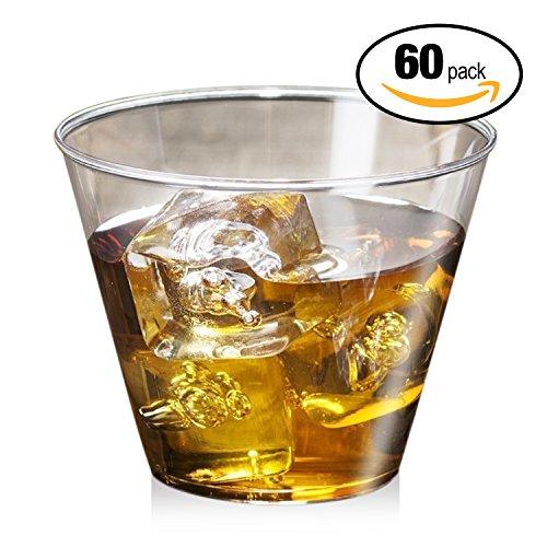 Confezione da 60 pezzi - bicchieri trasparenti in plastica rigida per feste - lavabili, monouso, riutilizzabili e riciclabili - perfetti per tutti gli eventi di catering e per l'uso quotidiano