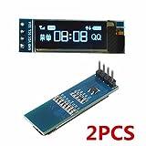 ILS - 2 pezzi 0,91 pollici 128x32 IIC I2C Display LCD blu OLED fai da te driver Oled modulo SSD1306 IC DC 3.3V 5V per Arduino PIC