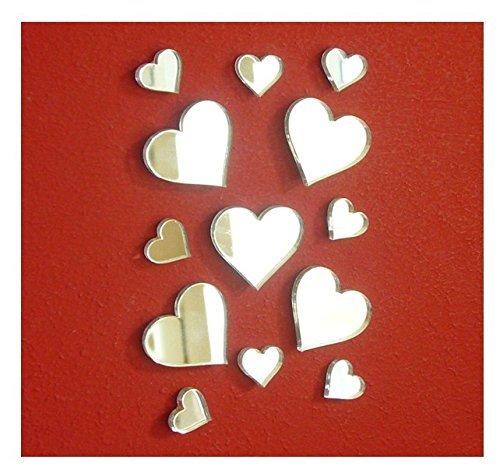 Pegatina de espejo pequeño con forma de corazón, para manualidades y manualidades, decoración de espejo acrílico y murales, 50 unidades