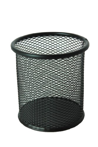 Black Single Round Mesh Metal Pen Pencil Tool Holder Table Desk Organizer for Home Office