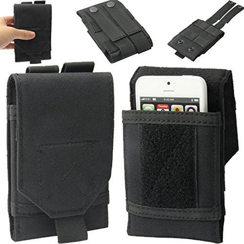 Universal Army Military Wandern Tactical Camo Tasche Schutzhülle Beutel Gürtelschlaufe Haken Holster für Apple iPod Touch 33. GEN, 44. Gen, 5. Gen, 6. Generation und Asus Zenfone 4-Schwarz