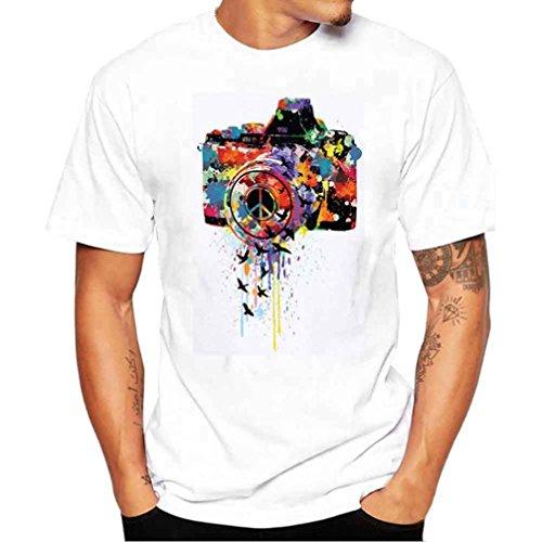 Herren Tshirt,Valueweight Shirt mit Frontprint und Rundhalsausschnitt Spring Summer Männer Bekleidung Printing Short Sleeve Streetwear Tees (3XL)
