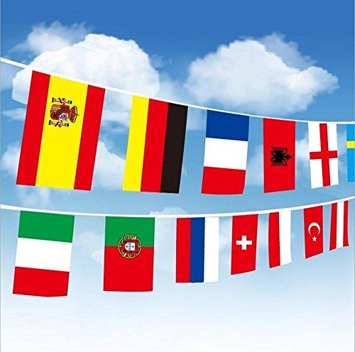 Fahnenkette/Wimpelkette/Girlande EM2016 Frankreich mit 24 Flaggen/Fahnen aller Fußball Teilnehmer der Europameisterschaft EM 2016, zirka 5m lang ist Flaggenkette