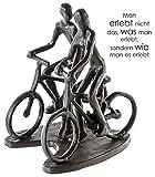 Casablanca - Design Skulptur/Dekofigur - Rad Tour - Figuren mit Fahrrad - Eisen - brüniert - Höhe 13 cm