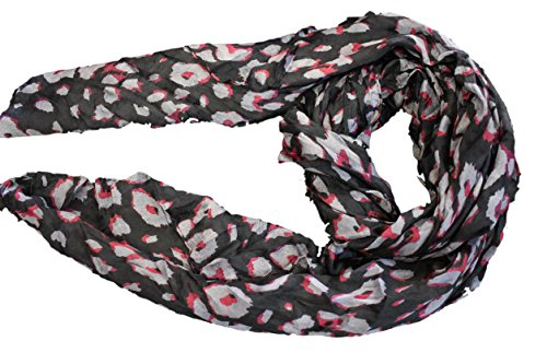 Fett Beleuchtung Kostüm - schwarz/pink Tier Promi Leopardenmuster Schal Halstuch