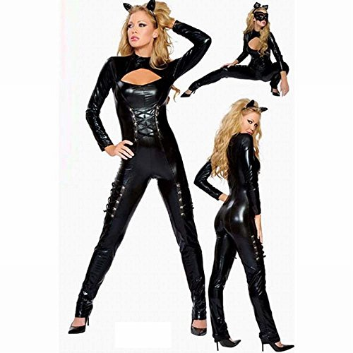 (Western Populäre Lederne Katze Weibliche Cosplay Leistung Uniformen, Nachtfeld Ds Meisterschaften für Kleine Teufel Thema Partei,Schwarz,Einheitsgröße)