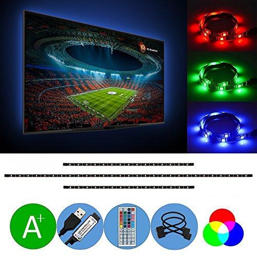 USB LED Streifen, AveyLum LED Lichtleiste RGB 2 x 1.64ft und 1 x 3.28ft TV Computer Heimkino Hintergrund Beleuchtung 5050 SMD Wasserdicht LED Lichtband mit 44 Tasten IR Fernbedienung Computer Sauber Wischen
