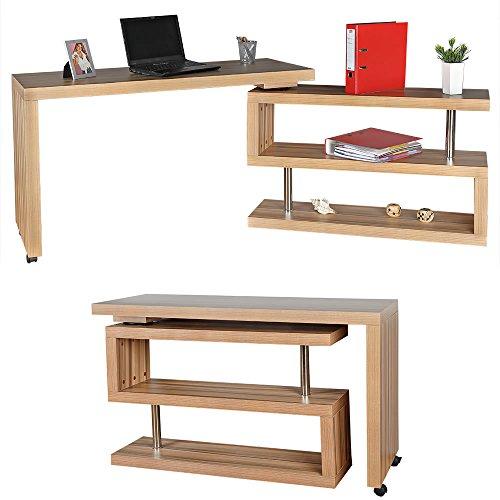 Melko® Eckschreibtisch Beistelltisch Schreibtisch Sekretär, Dunkel-Braun, Drehbar, 120-202x50x70 cm