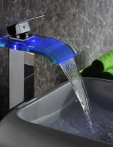 SZ moderno LED cascata energia idroelettrica vetro bagno lavandino rubinetti finitura cromata (alto)
