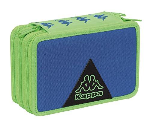 Estuche Escolar 3 Pisos – Kappa Logo – Multi Compartimentos con lápiz, rotuladores, boligrafos.Azul Verde