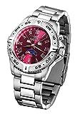 FIREFOX Mondphasenuhr FFS01-505 sunray rot massiv Edelstahl Damenuhr Herrenuhr Armbanduhr Sicherheitsfaltschließe 10 ATM wasserdicht Miyota 6P80 Werk