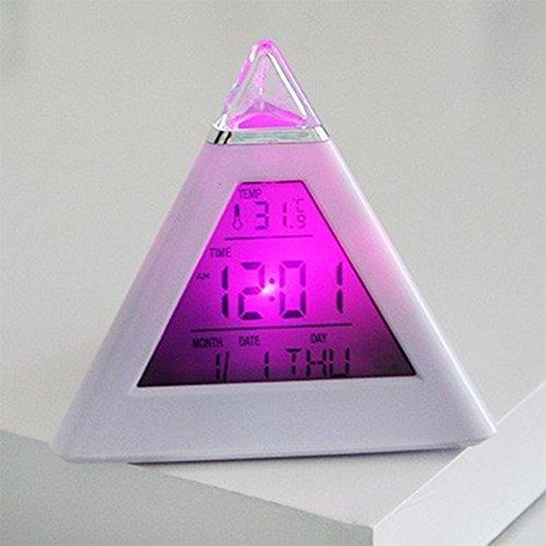 etbotu Pretty Farbwechsel LED Pyramide Alarm Uhr, mit Schlummerfunktion, Temperatur Kalender Dekoration