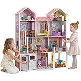 KidKraft 65242 Country Estate Puppenhaus Landhaus aus Holz mit Zubehör für 30 cm große Puppen mit 31 Accessoires und 4 Spielebenen
