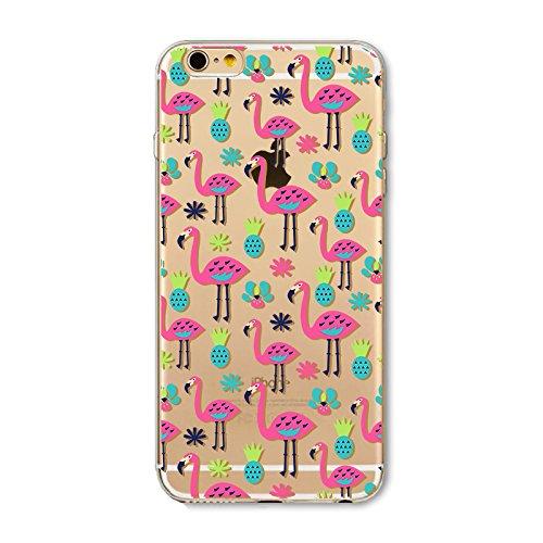 Coque iPhone 7 Plus Housse étui-Case Transparent Liquid Crystal Les animaux en TPU Silicone Clair,Protection Ultra Mince Premium,Coque Prime pour iPhone 7 Plus-Flamingo-style 9 4