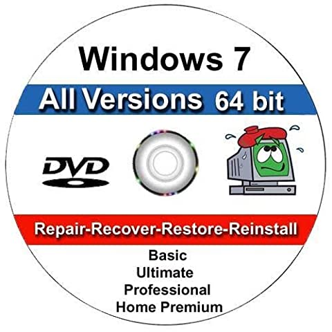 WINDOWS 7 32 & 64 bit DVD SP1 All Versions Ultimate Re-install Windows Factory Fresh! Recover, Repair, Re Install - Restore Boot Disc ~ Fix PC - Laptop - Desktop ~ AIO