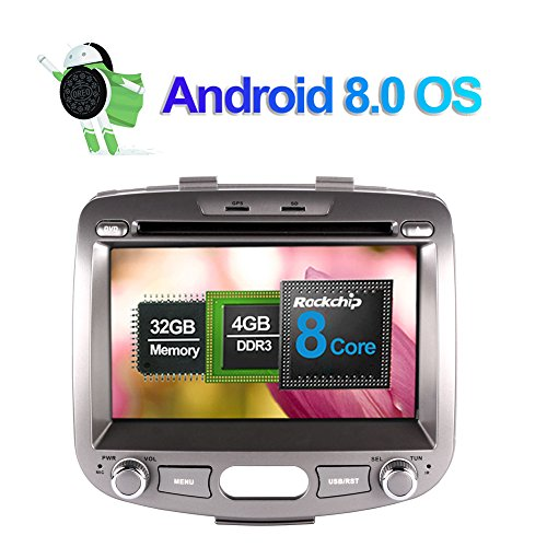 7 Zoll 4GB RAM Android 8.0 Autoradio Stereo CD DVD Multimedia Player für Hyundai I10 2007-2013 mit Bluetooth GPS Navigation 32GB ROM Unterstützung FM AM RDS AV-OUT WLAN 4G Kamera Eingang (Rv-cd-dvd-player)