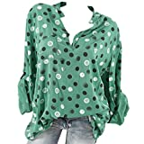 YOUBan Damen Bluse Frauen Stehen Kragen Wave Point Printing Hoodie Lange Ärmel Plus Größe Tops Lose Bluse Mode Top