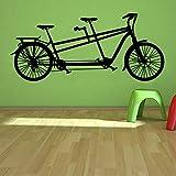 Adesivo murale bici tandem Tempo libero Sport Decorazioni per la casa Adesivi murali bicicletta Soggiorno Camera da letto Murales d'arte 58x24cm MRQXDP adesivo de parede