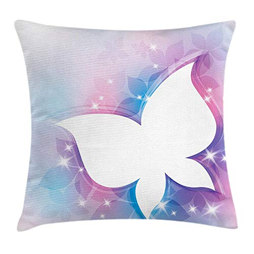 Butterfly Throw Pillow Cushion Cover, Abstract Floral White Butterfly Silhouette on a Magical Spring Meadow Print, Decorative Square Accent Pillow Case, 18 X 18 inches, White Pink Blue Butterfly Meadow Bunny