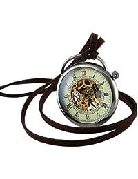 bolsillo Reloj Mecánico Colgante Plata Collar Cadena La Vendimia Esqueleto Cara Abierta