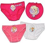 alles-meine.de GmbH 3 TLG. Slip / Unterhosen -  Disney Frozen - die Eiskönigin  - incl. Name -Größe 4 bis 5 Jahre - Gr. 110 bis 116 - 100 % Baumwolle - Mädchenslip / Unterwäsch..