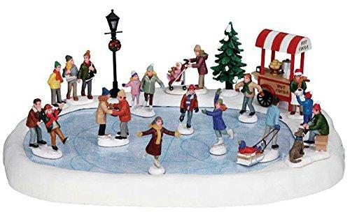 Lemax Village Skating Pond - Animierte Eislaufbahn mit Sound - 37cmx28cm - 4,5V - Zubehör - Weihnachtsdorf -