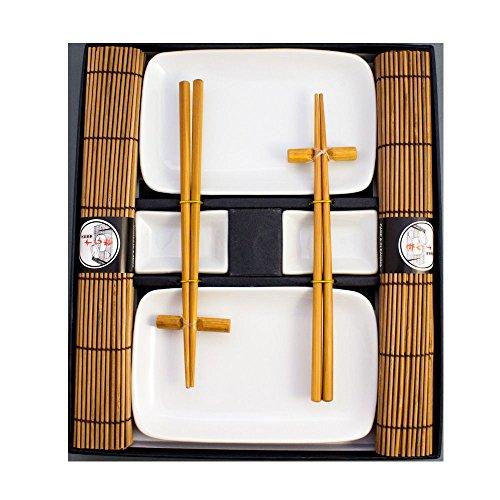 Sushi blanche de Assiette vaisselle Service – 10 pièces 2 personnes Marron pamai Pai®